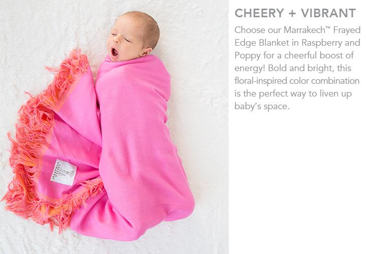 Marrakech™ Frayed Edge Blanket in raspberry + poppy
