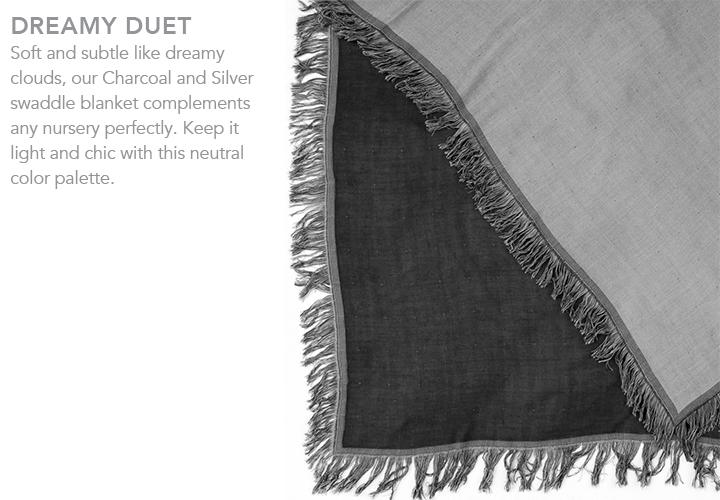 Marrakech™ Frayed Edge Blanket in charcoal + silver