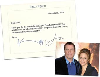 Thank You Note from John Travolta & Kelly Preston
