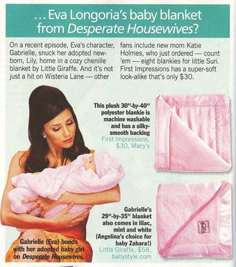 Life & Style Weekly: Where Can I Get… …Eva Longoria's baby blanket from desperat