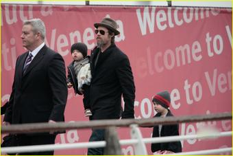 Brad Pitt with son Knox & daughter Shiloh