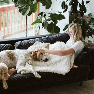 Who else is already in full fall mode? Shop our Luxe Knit Throw, one of our cozy fall favorites! Photo by @anjehaisch