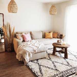 Boho bliss! Living room inspo from @danielleebrownn ft. our Moroccan Wedding Throw in Cream!